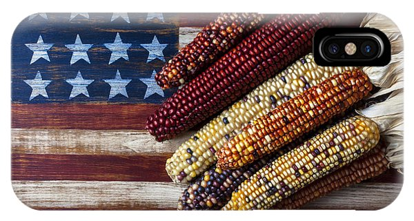 Vegetables iPhone Case - Indian Corn On American Flag by Garry Gay