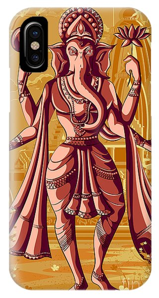 Worship iPhone Case - Indian God Ganpati In Blessing Posture by Vecton