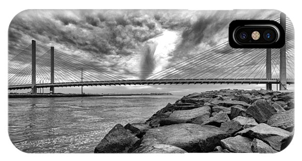 Indian River Bridge Clouds Black And White IPhone Case