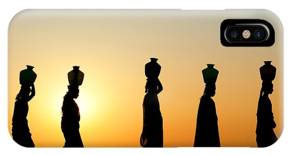 Indian Village iPhone Case - Indian Women Carrying Water Pots At Sunset by Tim Gainey