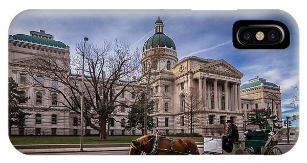 Indiana Capital Building - Front With Horse Passing IPhone Case