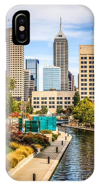 Skyline iPhone Case - Indianapolis Skyline Picture Of Canal Walk In Autumn by Paul Velgos