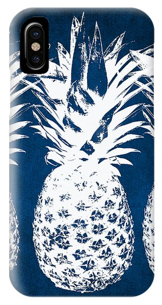 Beach iPhone X Case - Indigo And White Pineapples by Linda Woods