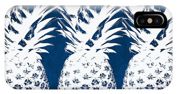 Travel iPhone Case - Indigo And White Pineapples by Linda Woods