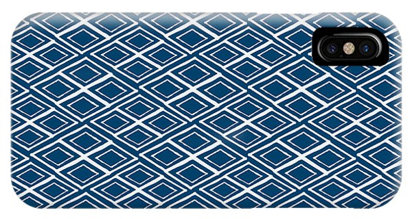 Diamond iPhone Case - Indigo And White Small Diamonds- Pattern by Linda Woods