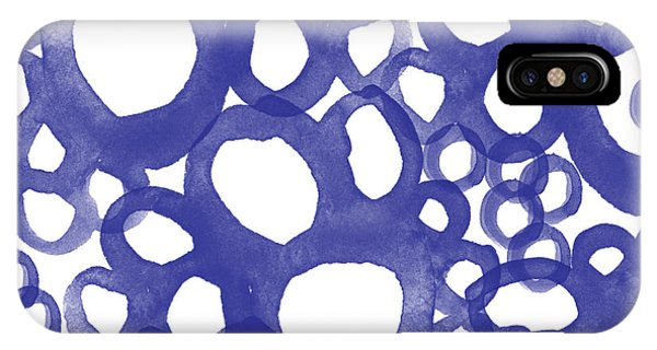 Blue And White iPhone Case - Indigo Bubbles- Contemporary Absrtract Watercolor by Linda Woods