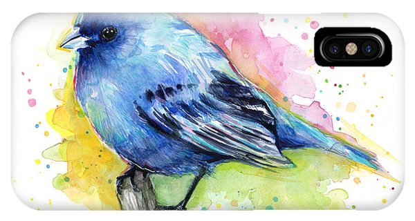 Bird Watercolor iPhone Case - Indigo Bunting Blue Bird Watercolor by Olga Shvartsur