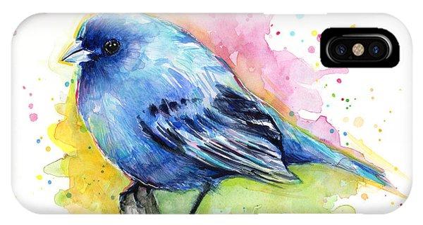 Bird iPhone Case - Indigo Bunting Blue Bird Watercolor by Olga Shvartsur