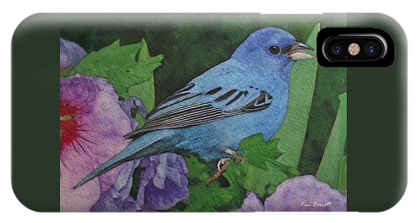 Bunting iPhone Case - Indigo Bunting No 2 by Ken Everett