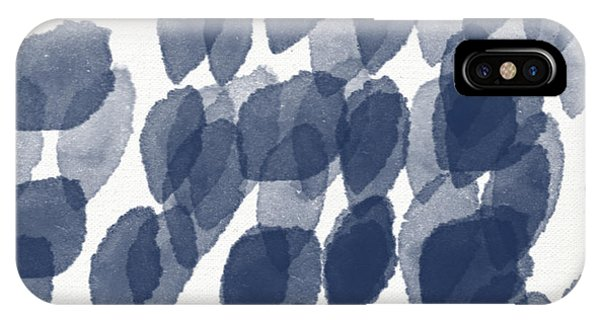 Gallery Wall iPhone Case - Indigo Rain- Abstract Blue And White Painting by Linda Woods