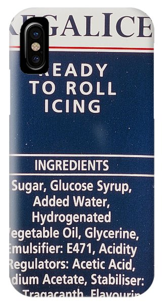 Icing iPhone Case - Ingredients Label On Packet Of Ready-made Icing by Adam Hart-davis/science Photo Library