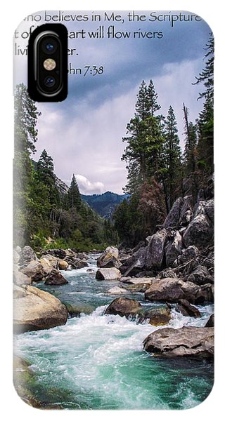 Inspirational Bible Scripture Emerald Flowing River Fine Art Original Photography IPhone Case