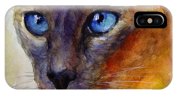 Intense Siamese Cat Painting Print 2 IPhone Case