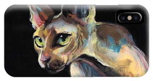 iPhone Case - Intense Sphinx Sphynx Cat Art Painting by Svetlana Novikova
