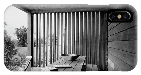 Interior End Of Porch With Vertical Louvers IPhone Case