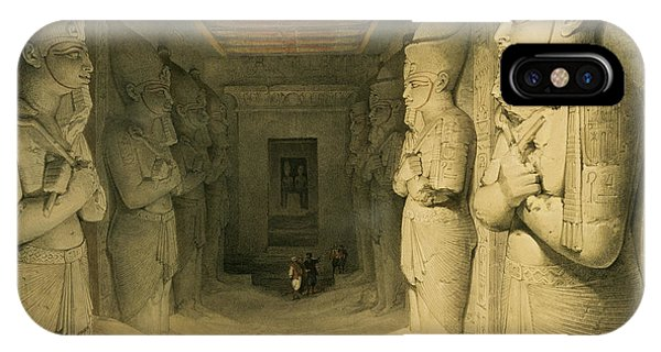 Pharaoh iPhone Case - Interior Of The Temple Of Abu Simbel by David Roberts