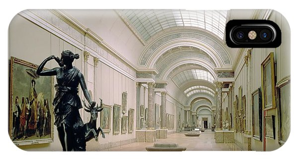 The Louvre iPhone Case - Interior View Of The Grande Galerie, 16th-19th Century Photo by French School