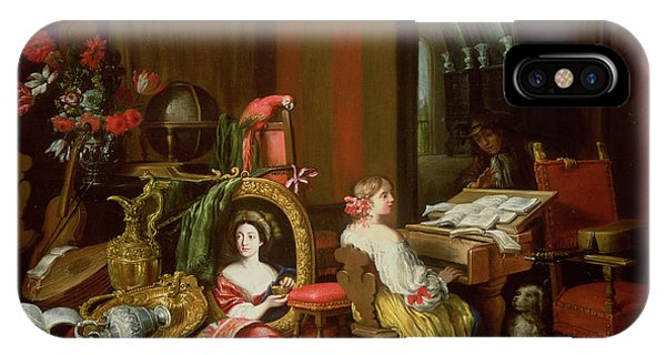 King Charles iPhone Case - Interior With A Lady At A Harpsichord by Francesco Fieravino