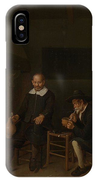 Fireplace iPhone Case - Interior With Two Men At A Fireplace, The Chimney Corner by Litz Collection
