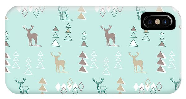 Vector Graphics iPhone Case - Into The Wild Woodland Animals Vector Retro Geometric Stag On Blue by MGL Meiklejohn Graphics Licensing