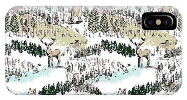 Vector Graphics iPhone Case - Into The Wild Woodland Animals Vector Stag And Bear In Forest by MGL Meiklejohn Graphics Licensing