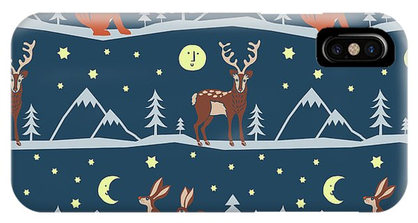Vector Graphics iPhone Case - Into The Wild Woodland Animals Vector Stag Fox Rabbits Moon by MGL Meiklejohn Graphics Licensing