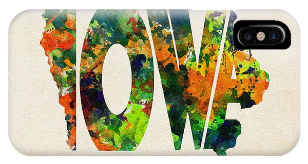 Iowa Typographic Watercolor Map IPhone Case