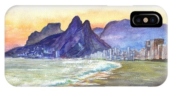 Sugarloaf Mountain And Ipanema Beach At Sunset Rio Dejaneiro  Brazil IPhone Case