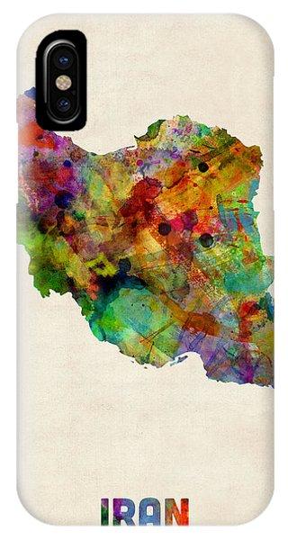 Iran Watercolor Map Phone Case by Michael Tompsett