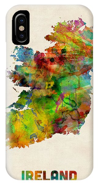 Irish iPhone Case - Ireland Eire Watercolor Map by Michael Tompsett