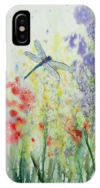 Iridescent Dragonfly Dances Among The Blooms IPhone Case