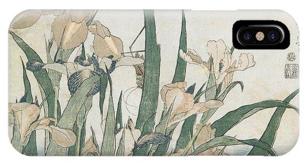 Grasshopper iPhone Case - Iris Flowers And Grasshopper by Hokusai