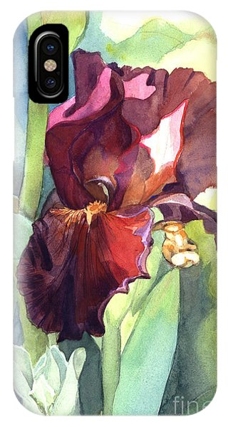 Watercolor Of A Tall Bearded Iris Called Sultan's Palace In Red And Burgundy IPhone Case