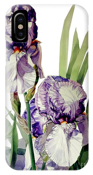 Watercolor Of A Tall Bearded Iris In Violet And White I Call Iris Selena Marie IPhone Case