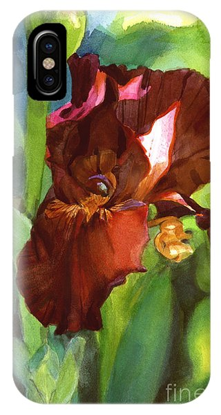 Watercolor Of A Tall Bearded Iris In Sienna Red IPhone Case