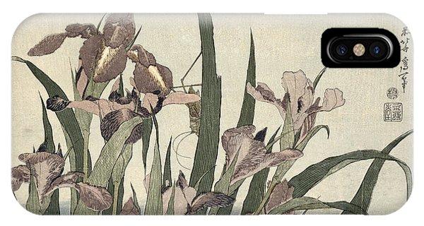 Grasshopper iPhone Case - Irises And Grasshopper by Katsushika Hokusai