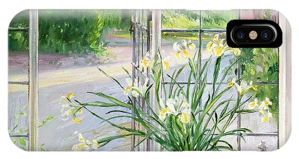 Yard iPhone Case - Irises And Sleeping Cat by Timothy Easton