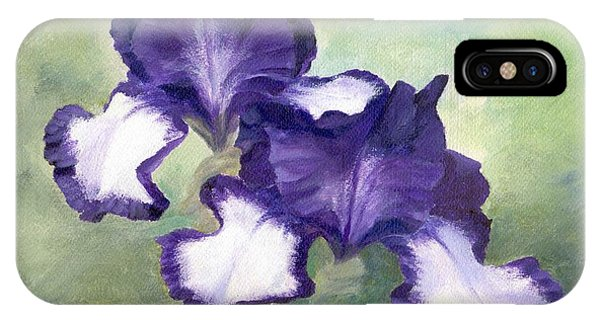 Irises Duet In Purple Flowers Colorful Original Painting Garden Iris Flowers Floral K. Joann Russell IPhone Case