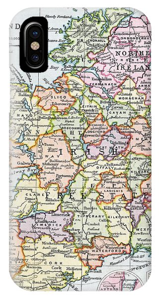 Irish iPhone Case - Irish Free State And Northern Ireland From Bacon S Excelsior Atlas Of The World by English School