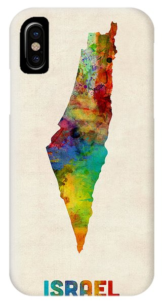 Print iPhone Case - Israel Watercolor Map by Michael Tompsett