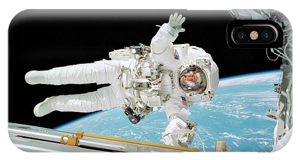 International Space Station iPhone Case - Iss Construction Space Walk by Nasa