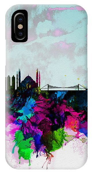 Turkey iPhone Case - Istanbul Watercolor Skyline by Naxart Studio