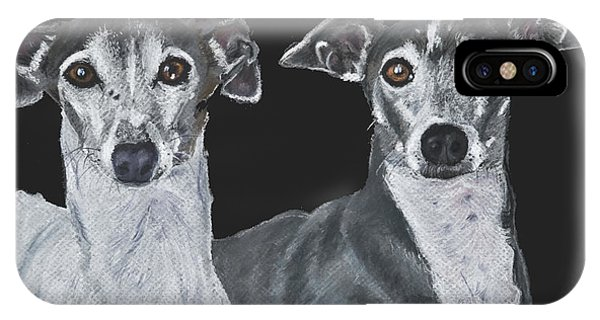 Italian Greyhounds Portrait Over Black IPhone Case
