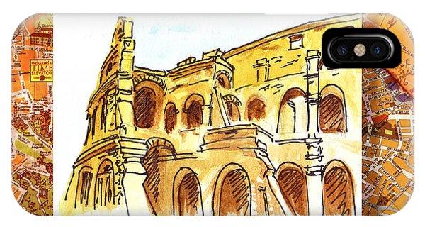 Ancient Rome iPhone Case - Italy Sketches Rome Colosseum Ruins by Irina Sztukowski