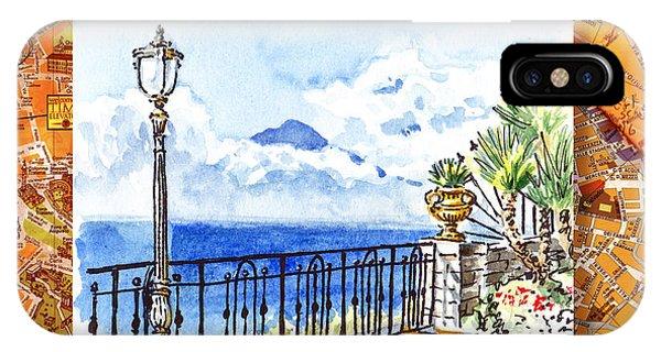 Italy Sketches Sorrento View On Volcano Vesuvius  IPhone Case