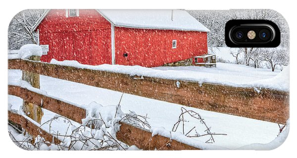 New England Barn iPhone Case - It's Snowing by Bill Wakeley