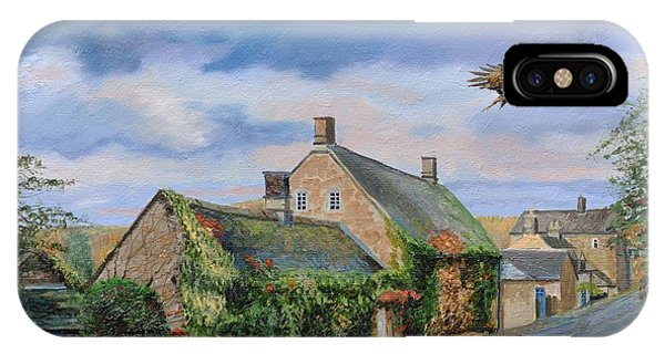 English Village iPhone Case - Ivy Cottage Beeley, Chatsworth, Derbyshire, 2009 Oil On Canvas by Trevor Neal