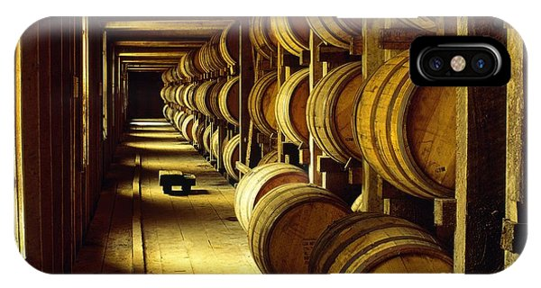 Jack Daniel Whiskey Maturing In Barrels In Old Warehouse At The Lynchburg Distillery Tennessee Usa IPhone Case