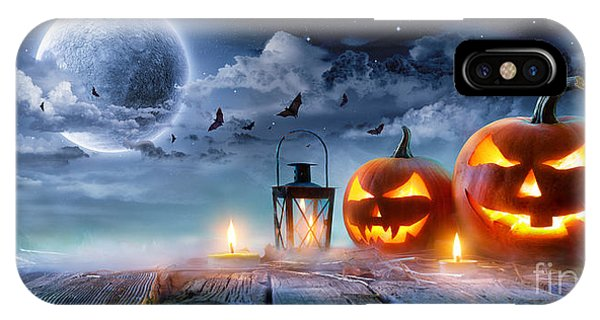 Moonlight iPhone Case - Jack O' Lanterns Glowing At Moonlight by Romolo Tavani