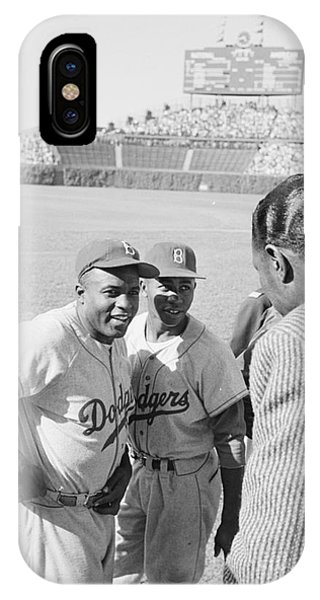 Jackie Robinson With Hank Aaron And Nat King Cole  IPhone Case